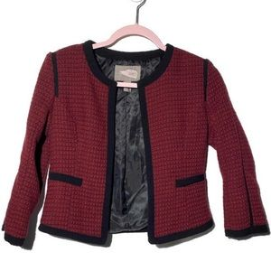 Forever 21 Red and Black Open Front Blazer Jacket
